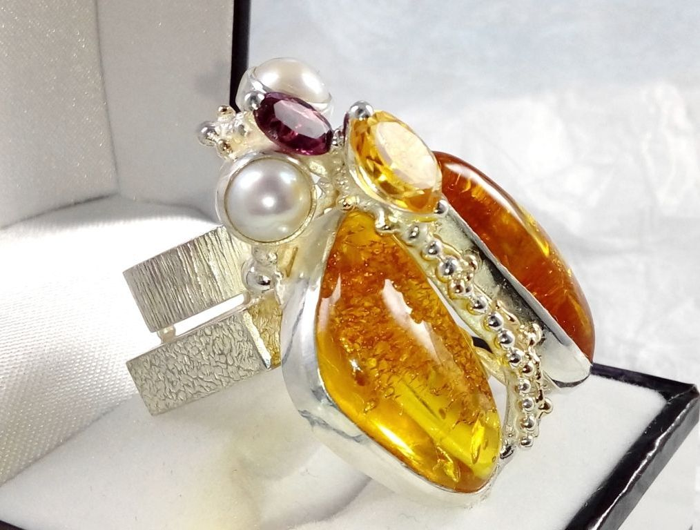 One of a kind original handmade ring #43926, sterling silver, 14 karat gold, amber, rhodolite, citrine, pearls, some may ask are there bugs in the amber, but here the ring is that insect bug itself