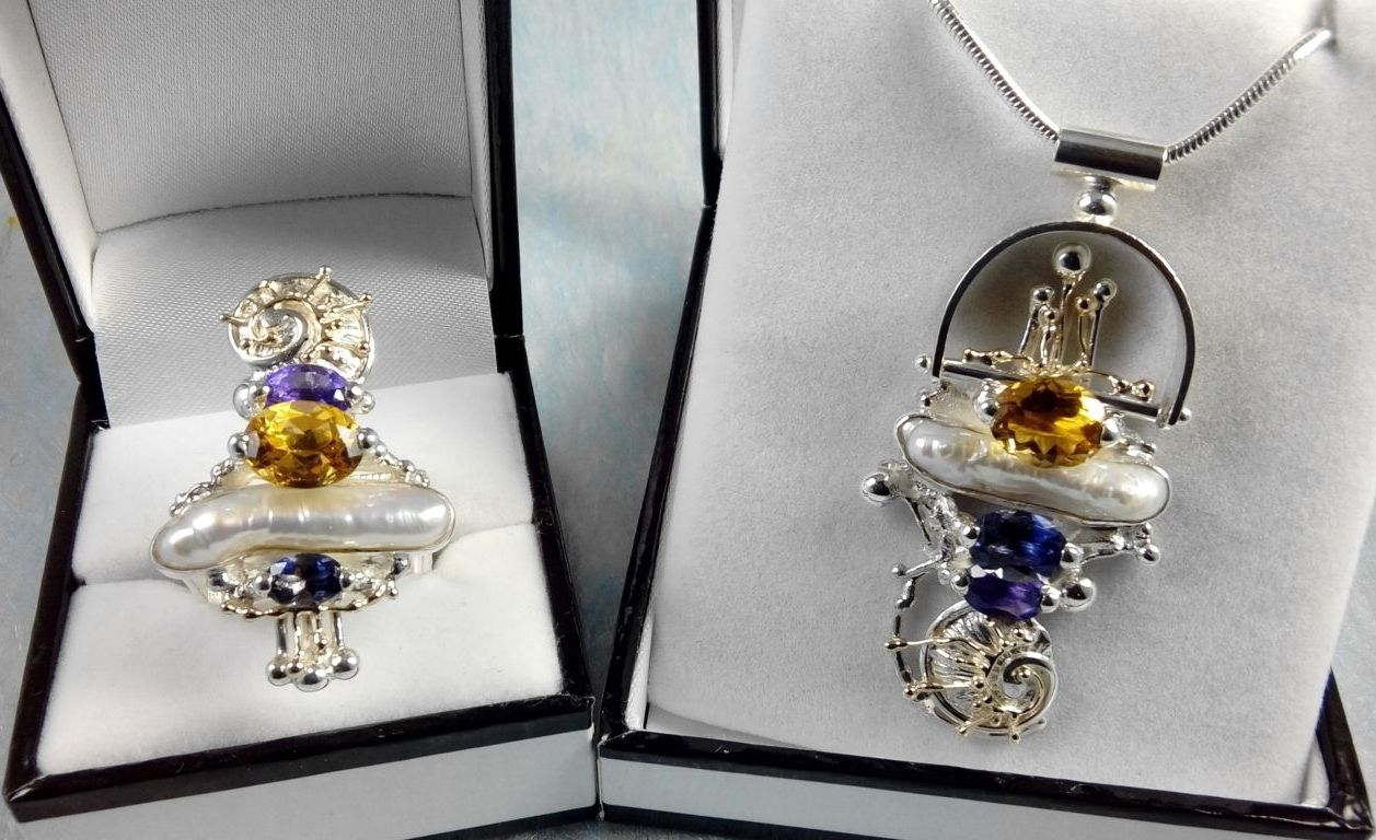 Pendant #2650 and Ring #1725 Set, sterling silver, gold, amethyst, iolite, citrine, pearl, where to buy artisan soldered and reticulated mixed metal jewellery, Gregory Pyra Piro artisan soldered and reticulated jewellery