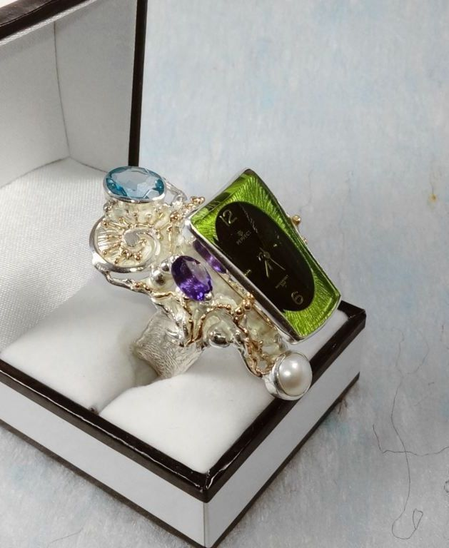 Ring with Watch Movement #5381, sterling silver, gold, blue topaz, amethyst, original handmade, one of a kind jewellery, art jewellery, Gregory Pyra Piro