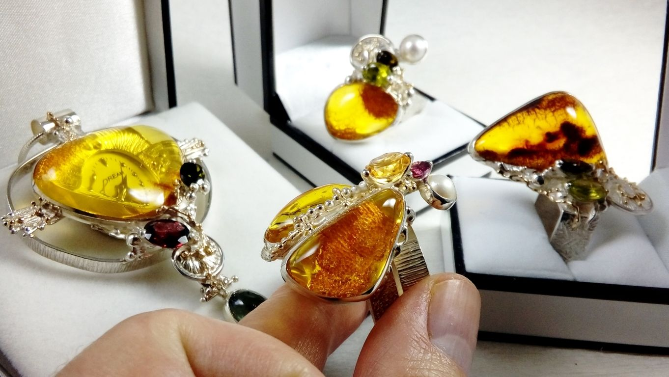 Collection of Cyber Rings, Bespoke Jewellery, One of a Kind, Original Handcrafted, Gregory Pyra Piro, Sterling Silver, 14k Gold, Natural Gemstones, Pearls
