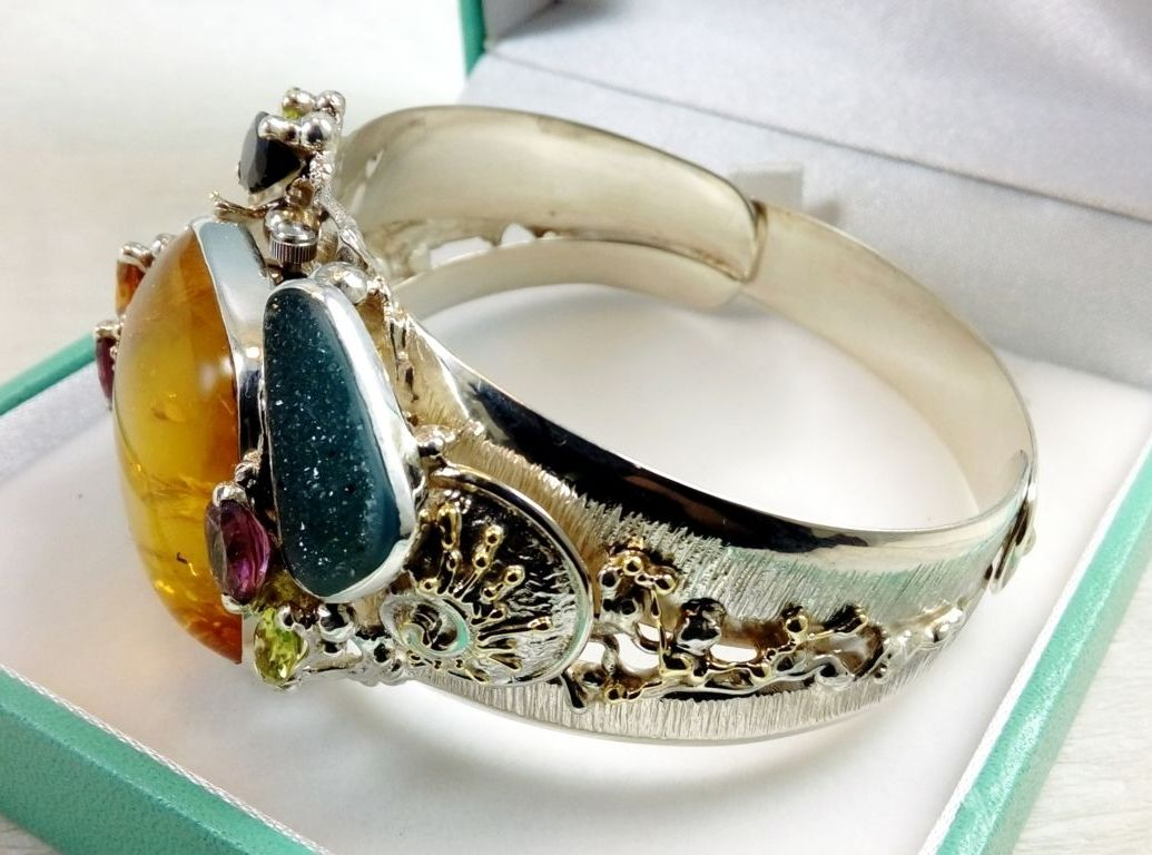gregory pyra piro hancdrafted bracelet 8394, One of a Kind, Sterling Silver, 18 karat Gold, Amber, Tourmaline, Garnet, Drusy