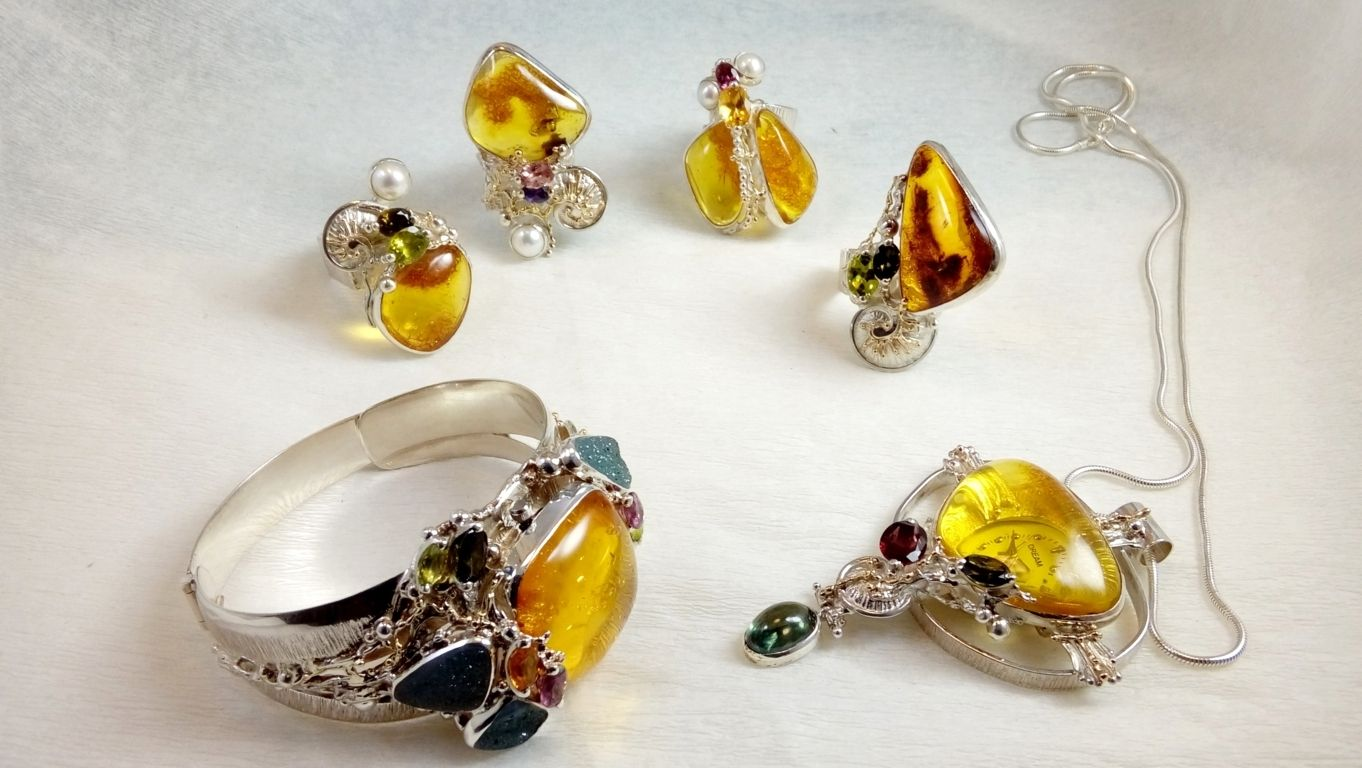 Bespoke Jewellery, One of a Kind Jewellery, Original Handcrafted Bracelet, Sterling Silver, 18k Gold, Amber, Tourmaline, Drusy