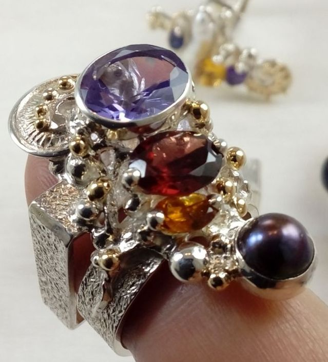 silver and gold reticulated jewellery with amethyst, Garnet, Citrine, Collection of Cyber Rings, Bespoke Jewellery, One of a Kind, Original Handcrafted, Gregory Pyra Piro, Sterling Silver, 14k Gold, Natural Gemstones, Pearls