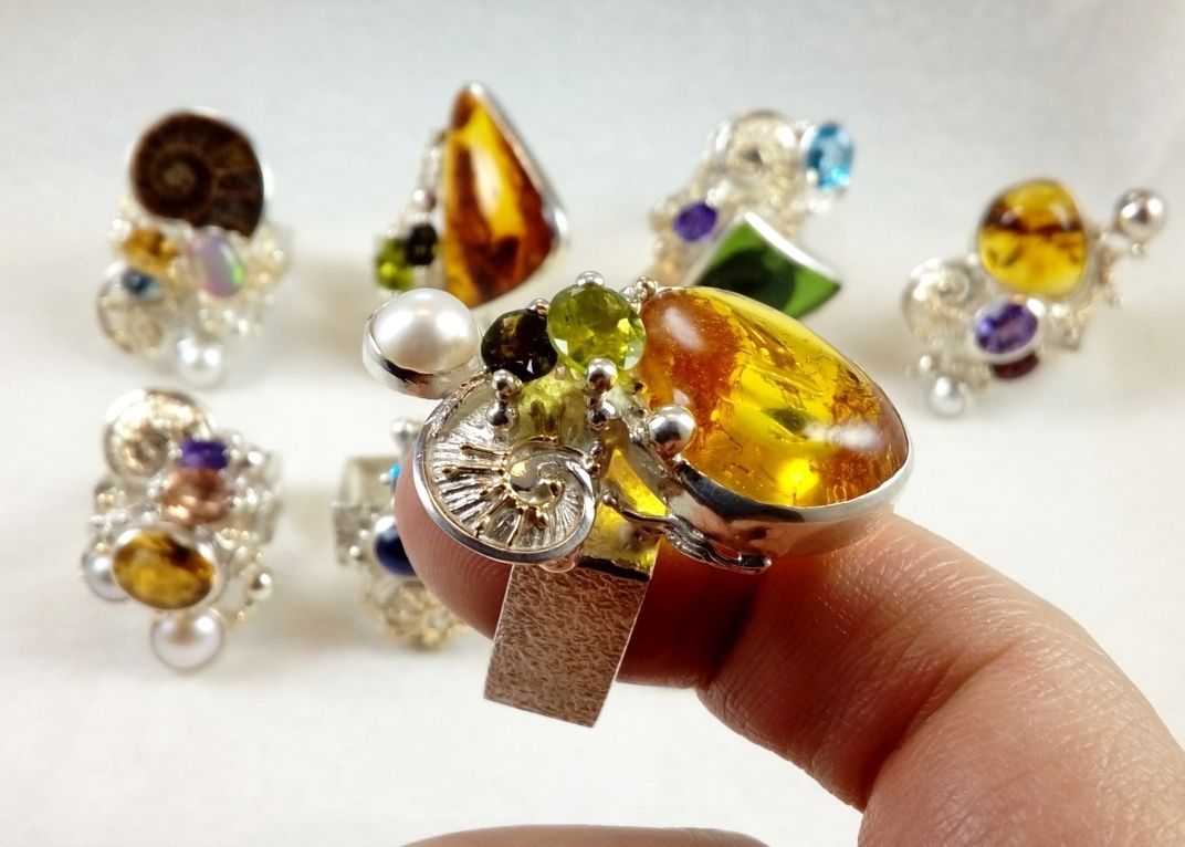 Peridot, Amber, Green Tourmaline, Collection of Rings, Bespoke Jewellery, One of a Kind, Original Handcrafted, Gregory Pyra Piro, Sterling Silver, 14k Gold, Natural Gemstones, Pearls