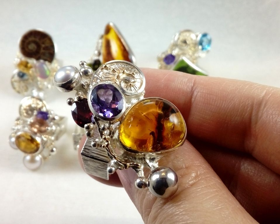 Amber, Garnet, Collection of Rings, Bespoke Jewellery, One of a Kind, Original Handcrafted, Gregory Pyra Piro, Sterling Silver, 14k Gold, Natural Gemstones, Pearls