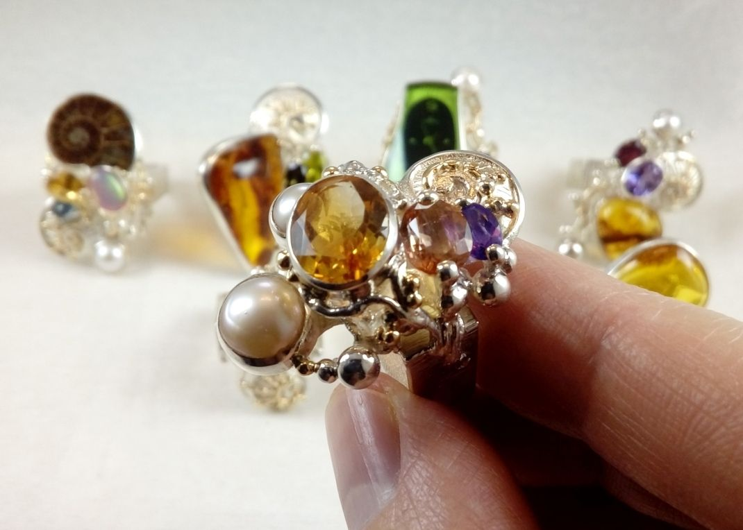 Citrine, Pink Tourmaline, Amethyst, Collection of Rings, Bespoke Jewellery, One of a Kind, Original Handcrafted, Gregory Pyra Piro, Sterling Silver, 14k Gold, Natural Gemstones, Pearls