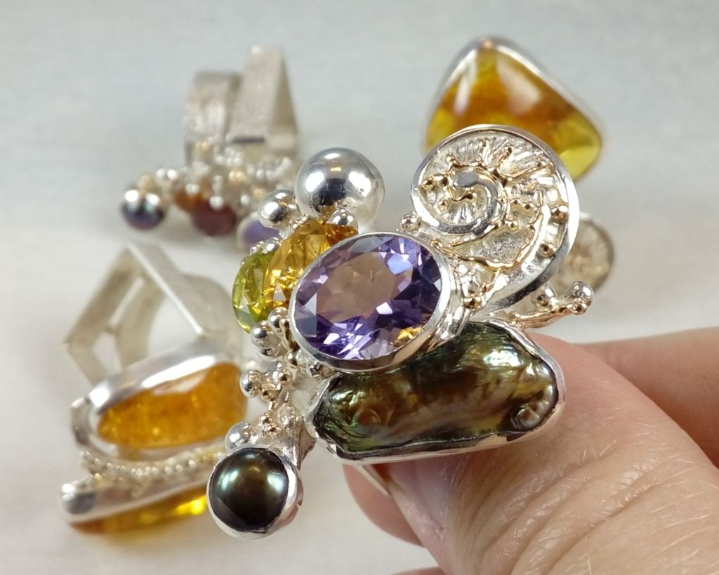 silver and gold reticulated jewellery with amethyst, Peridot, Citrine, Collection of Cyber Rings, Bespoke Jewellery, One of a Kind, Original Handcrafted, Gregory Pyra Piro, Sterling Silver, 14k Gold, Natural Gemstones, Pearls