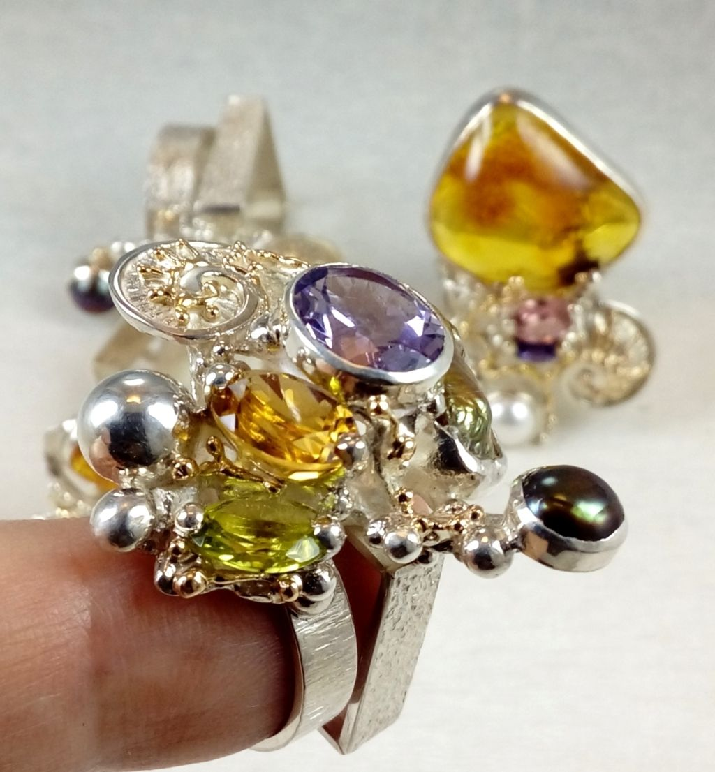 mixed metal soldered and reticulated ring, where to buy fine craft gallery mixed metal reticulated and soldered ring, Gregory Pyra Piro artisan reticulated and soldered ring 1565