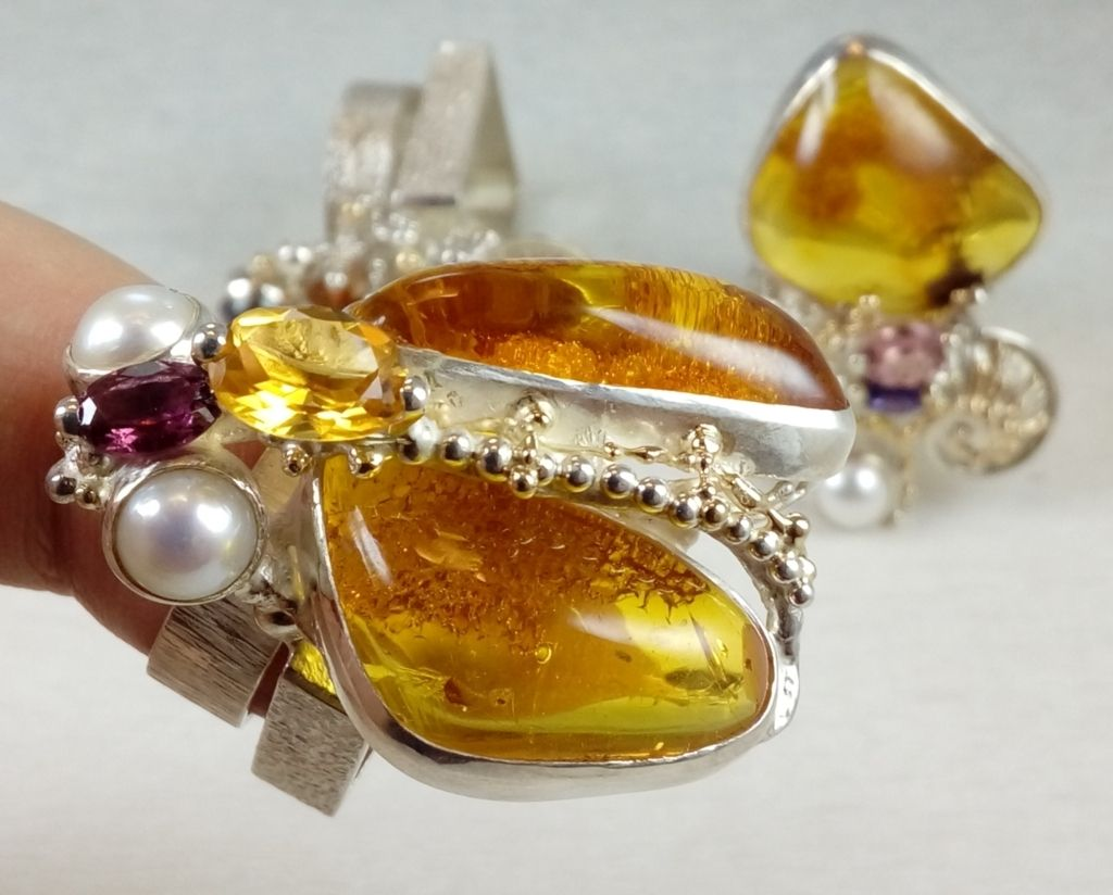 Amber, Garnet, Collection of Cyber Rings, Bespoke Jewellery, One of a Kind, Original Handcrafted, Gregory Pyra Piro, Sterling Silver, 14k Gold, Natural Gemstones, Pearls