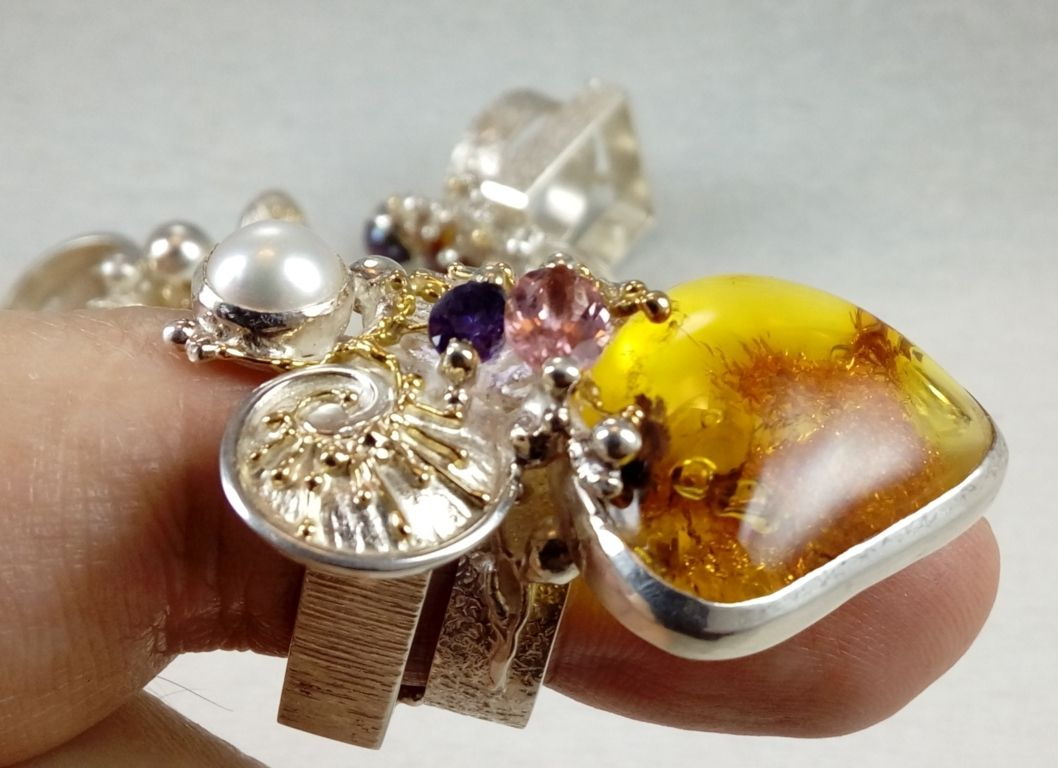 Amber, Pink Tourmaline, Amethyst, Collection of Cyber Rings, Bespoke Jewellery, One of a Kind, Original Handcrafted, Gregory Pyra Piro, Sterling Silver, 14k Gold, Natural Gemstones, Pearls
