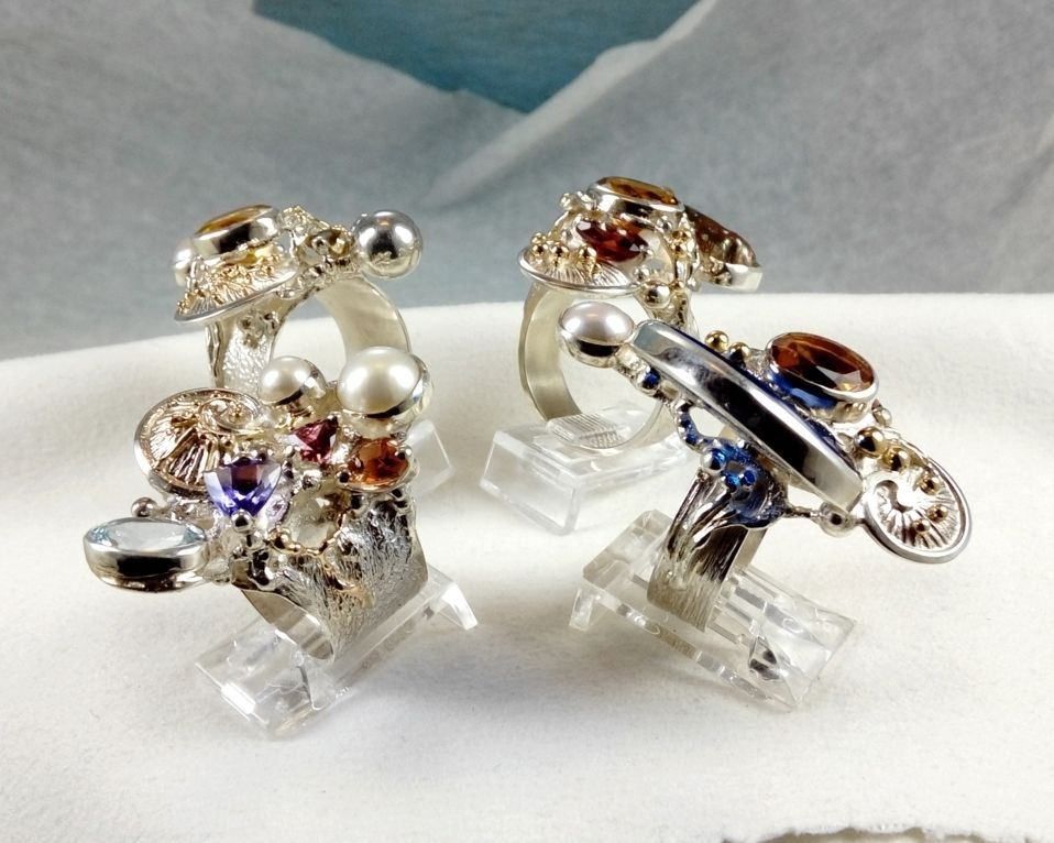 Collection of Rings, Bespoke Jewellery, One of a Kind, Original Handcrafted, Gregory Pyra Piro, Sterling Silver, 14k Gold, Natural Gemstones, Pearls