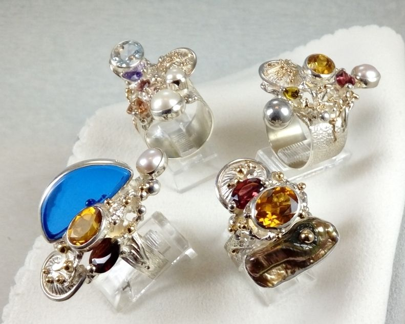 mixed metal reticulated jewellery with moonstone Collection of Rings, Bespoke Jewellery, One of a Kind, Original Handcrafted, Gregory Pyra Piro, Sterling Silver, 14k Gold, Natural Gemstones, Pearls