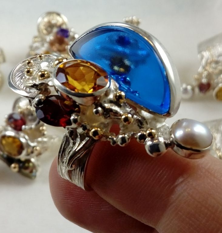 original maker's handcrafted jewellery, gregory pyra piro ring 3624, sterling silver, gold, citrine, garnet, pearl, glass, fine craft gallery jewellery for sale, art and craft gallery artisan handcrafted jewellery for sale, jewellery with ocean and seashell theme