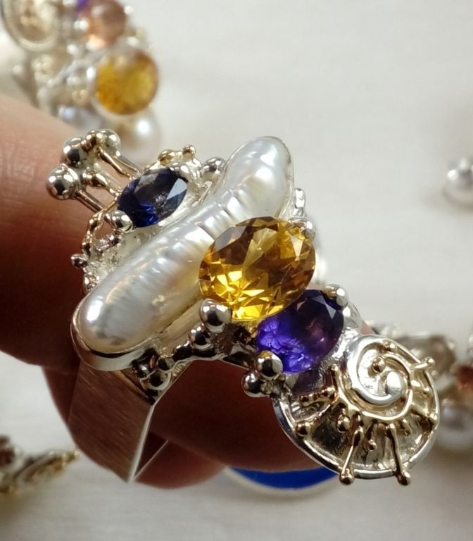 original maker's handcrafted jewellery, gregory pyra piro ring 1725, sterling silver, gold, amethyst, iolite, citrine, pearl, fine craft gallery jewellery for sale, art and craft gallery artisan handcrafted jewellery for sale, jewellery with ocean and seashell theme