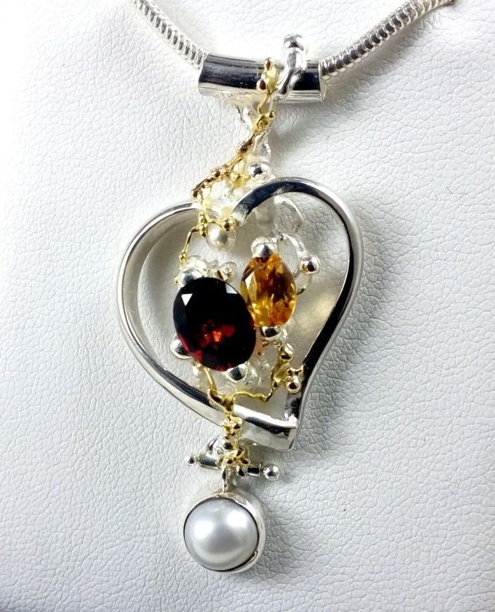 gregory pyra piro, heart pendant 5392, sterling silver, 14 karat gold, garnet, citrine, pearl, one of a kind, handcrafted original