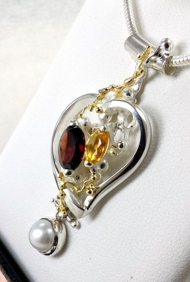 gregory pyra piro, one of a kind heart pendant 5392, sterling silver, 14k gold, citrine, garnet, pearl, original handcrafted, one of a kind