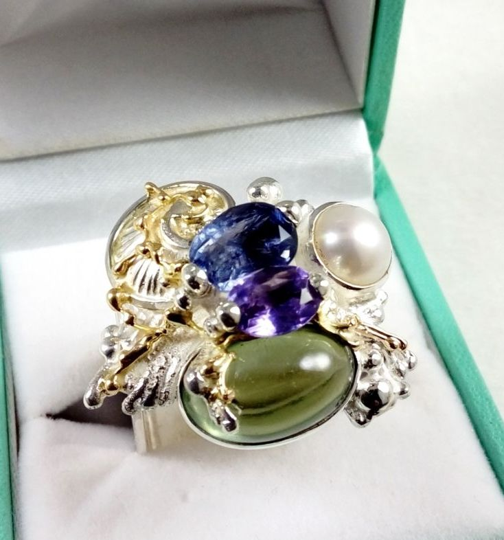how to buy artisan soldered and reticulated silver and gold rings, Gregory Pyra Piro artian reticulated mixed metal square ring #4821, handmade ring, sterling silver ring, 14 karat gold ring, ring with iolite, reticulation silver and gold ring with amethyst, ring with fluorite, ring with pearl