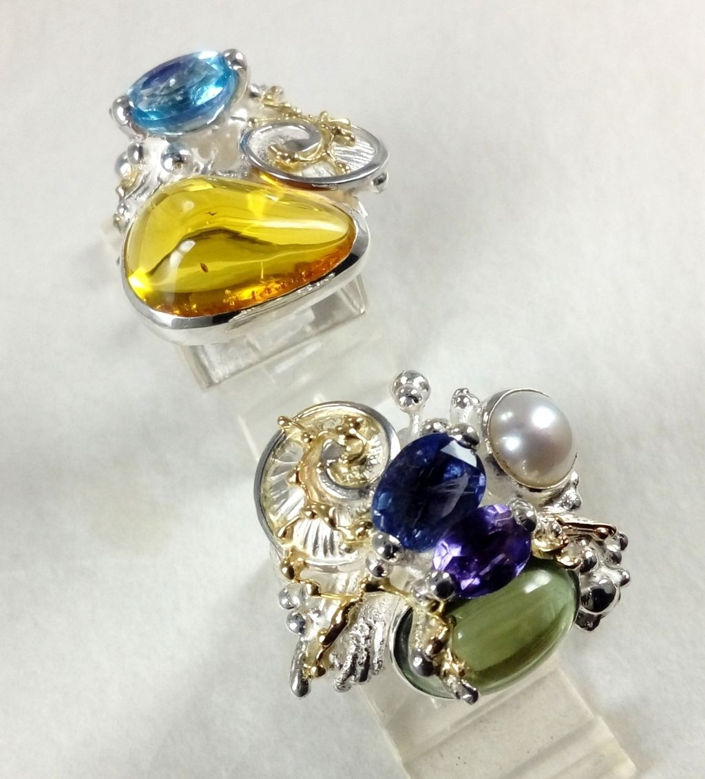 Gregory Pyra Piro Square Rings, original handmade in sterling silver with solid 14 karat gold, and natural gemstones