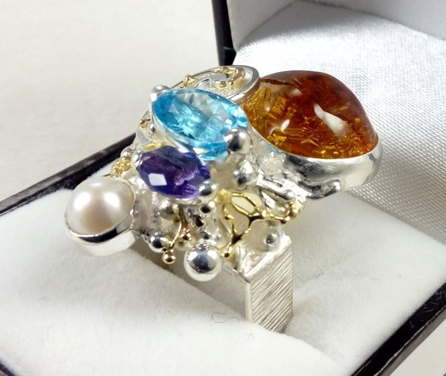 how to buy artisan soldered and reticulated silver and gold rings, Gregory Pyra Piro artian reticulated mixed metal square ring #4822, handmade ring, ring in sterling silver, ring in 14 karat gold, ring with blue topaz, reticulation silver and gold ring with amethyst, ring with amber, ring with pearl