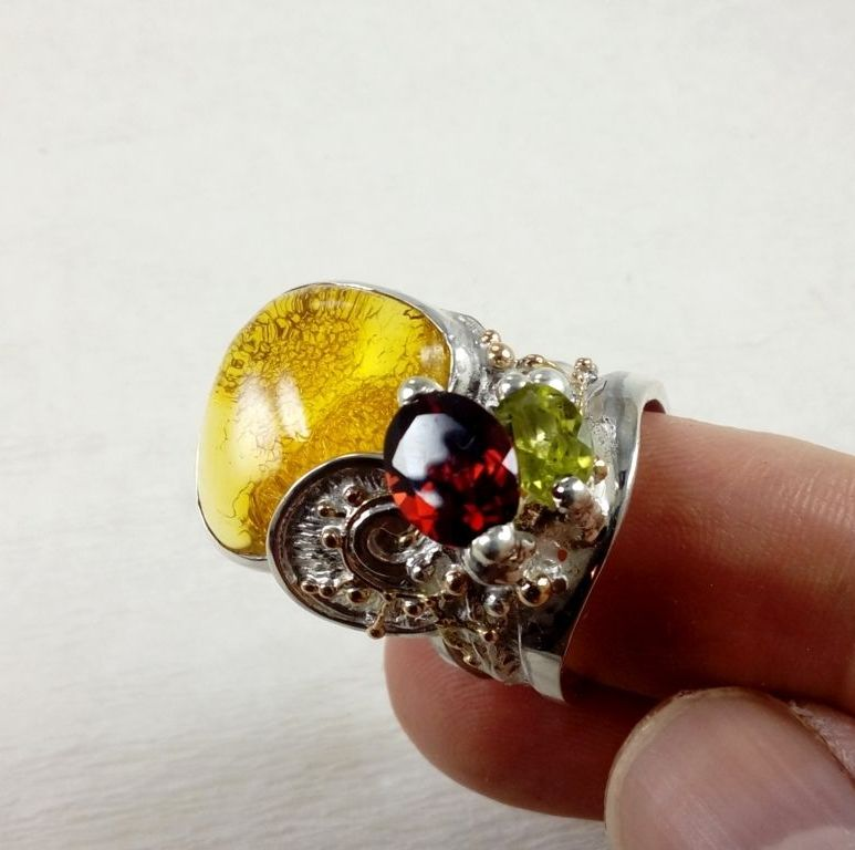 sterilng silver and 14k gold ring, artisan handcrafted ring with garnet, artisan handcrafted ring with peridot, artisan handcrafted ring with amber, band ring #5100