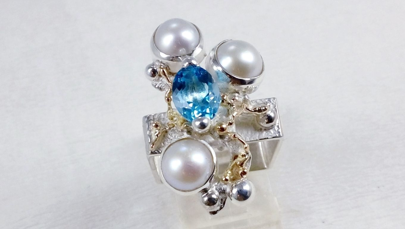 how to buy artisan soldered and reticulated silver and gold rings, Gregory Pyra Piro artian reticulated mixed metal square ring #8391, handmade ring, ring in sterling silver, ring in 14 karat gold, ring with blue topaz, ring with pearls