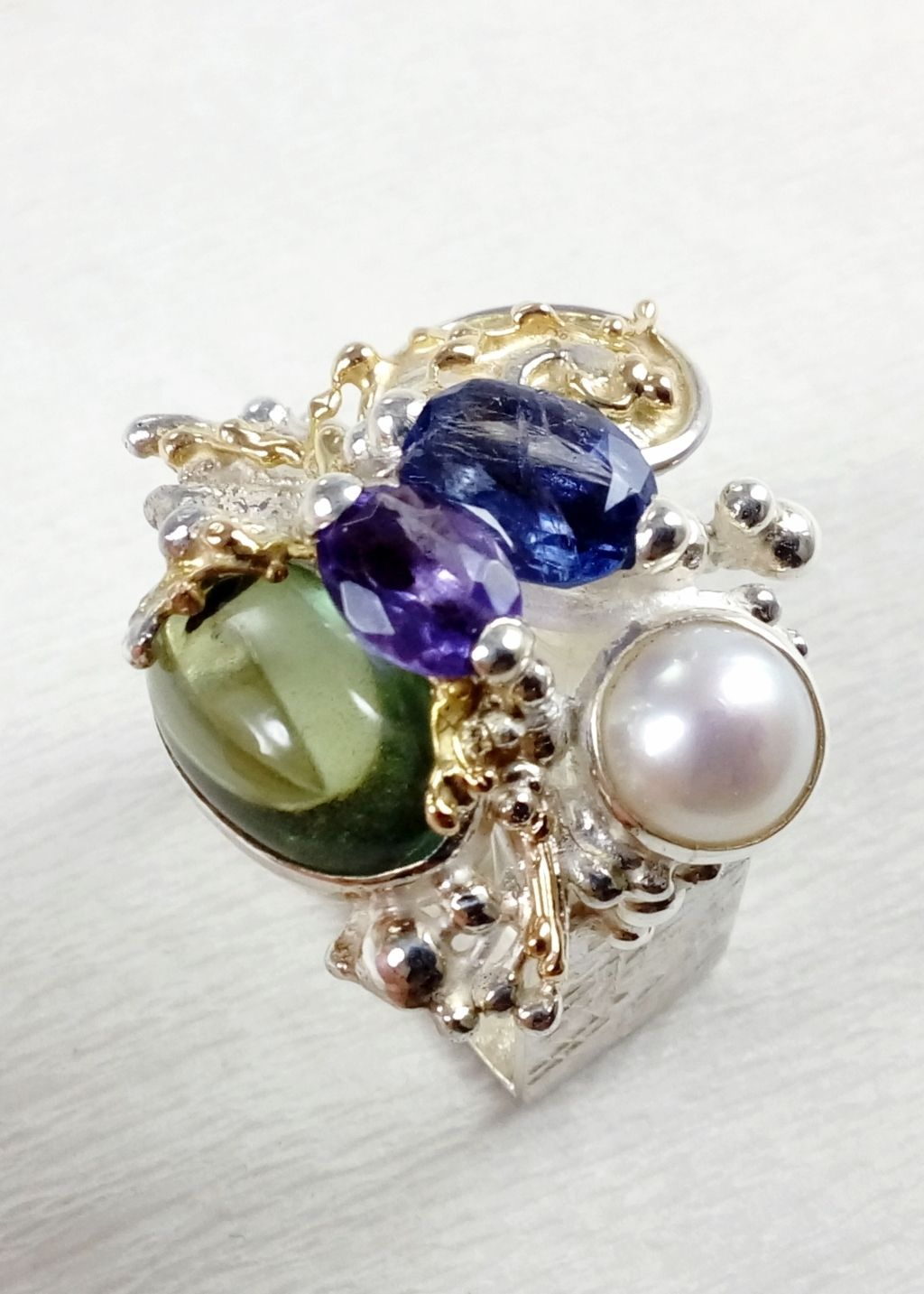 gregory pyra piro square ring 4821, craft gallery jewellery for sale, fine craft gallery handcrafted ring for sale, sterling silver and 14 karat gold ring, ring with amethyst, fluorite, iolite and pearl, one of a kind handcrafted ring, original handcrafted jewellery