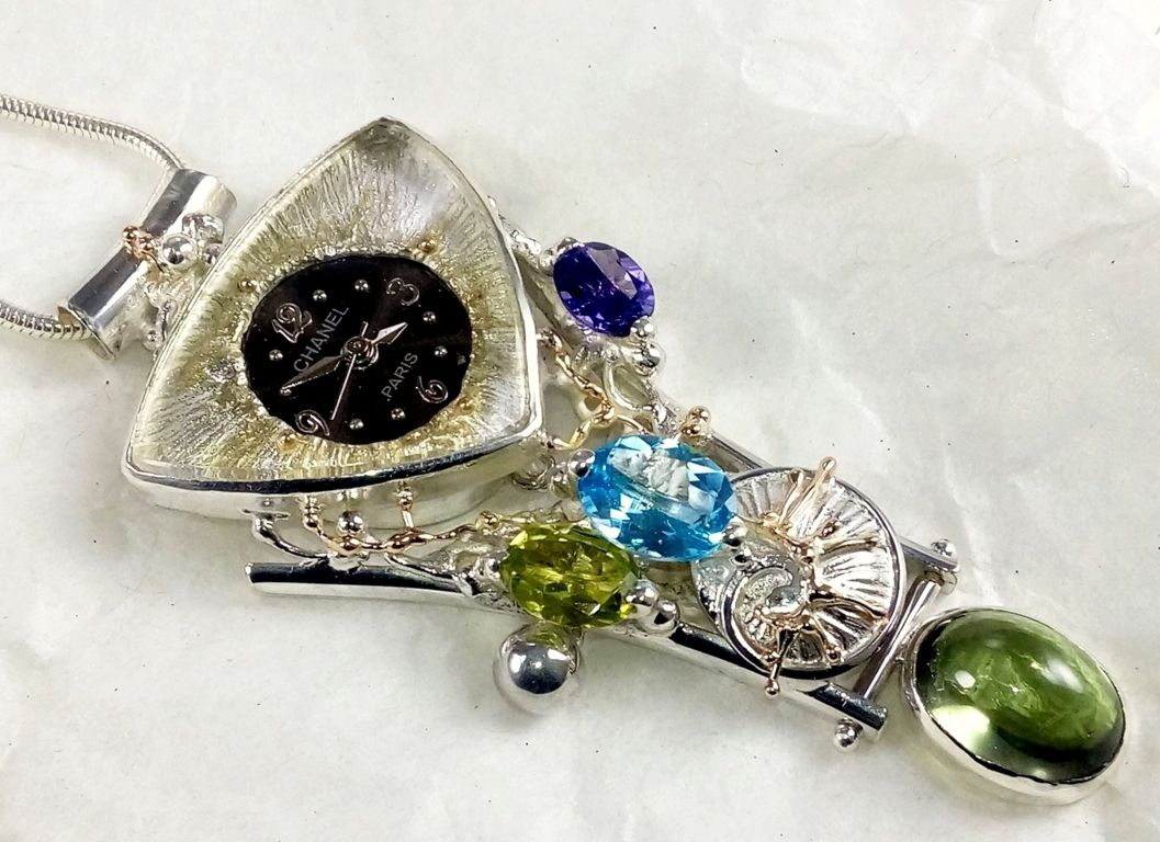 Pendant with Watch Movement #749361, sterling silver, gold, peridot, blue topaz, amethyst and, fluorite, fine craft gallery jewellery for sale, art and craft gallery artisan handcrafted jewellery for sale, jewellery with ocean and seashell theme