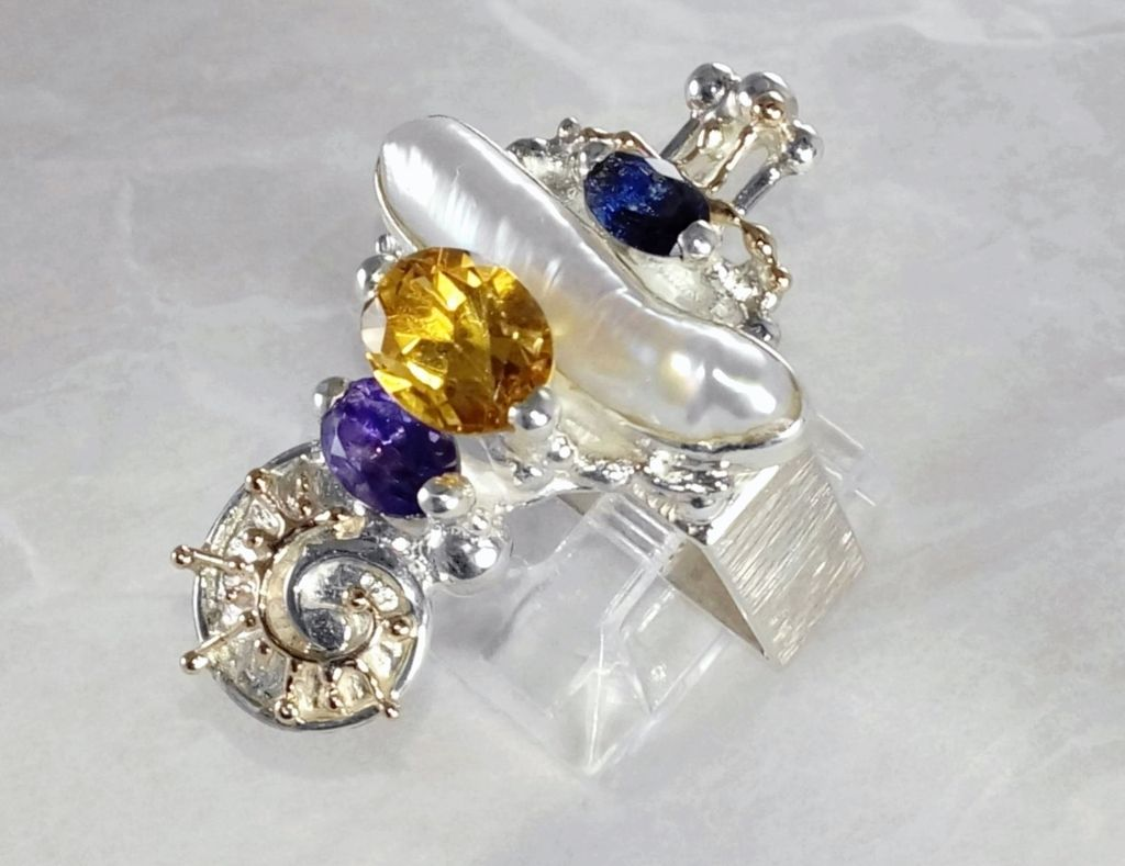 Ring #1725, sterling silver, gold, amethyst, iolite, citrine, pearl, original handmade, one of a kind jewellery, art jewellery, Gregory Pyra Piro