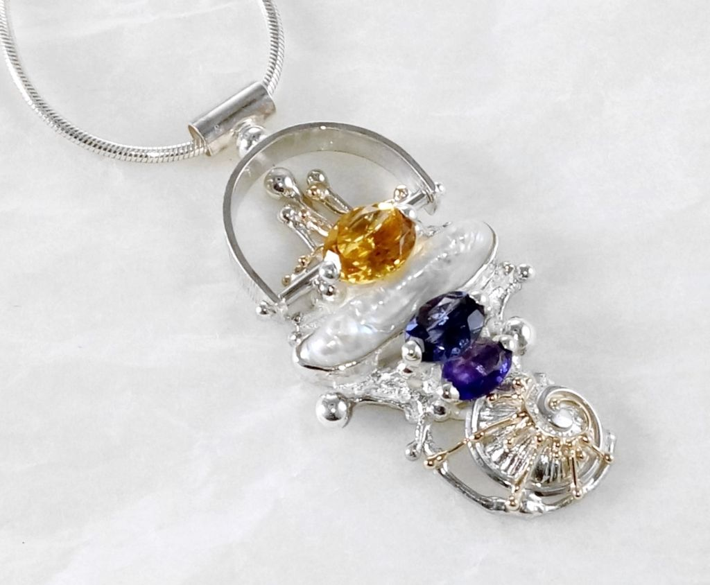 Pendant #2650, sterling silver, gold, amethyst, iolite, citrine, pearl, original handmade, one of a kind jewellery, art jewellery, Gregory Pyra Piro