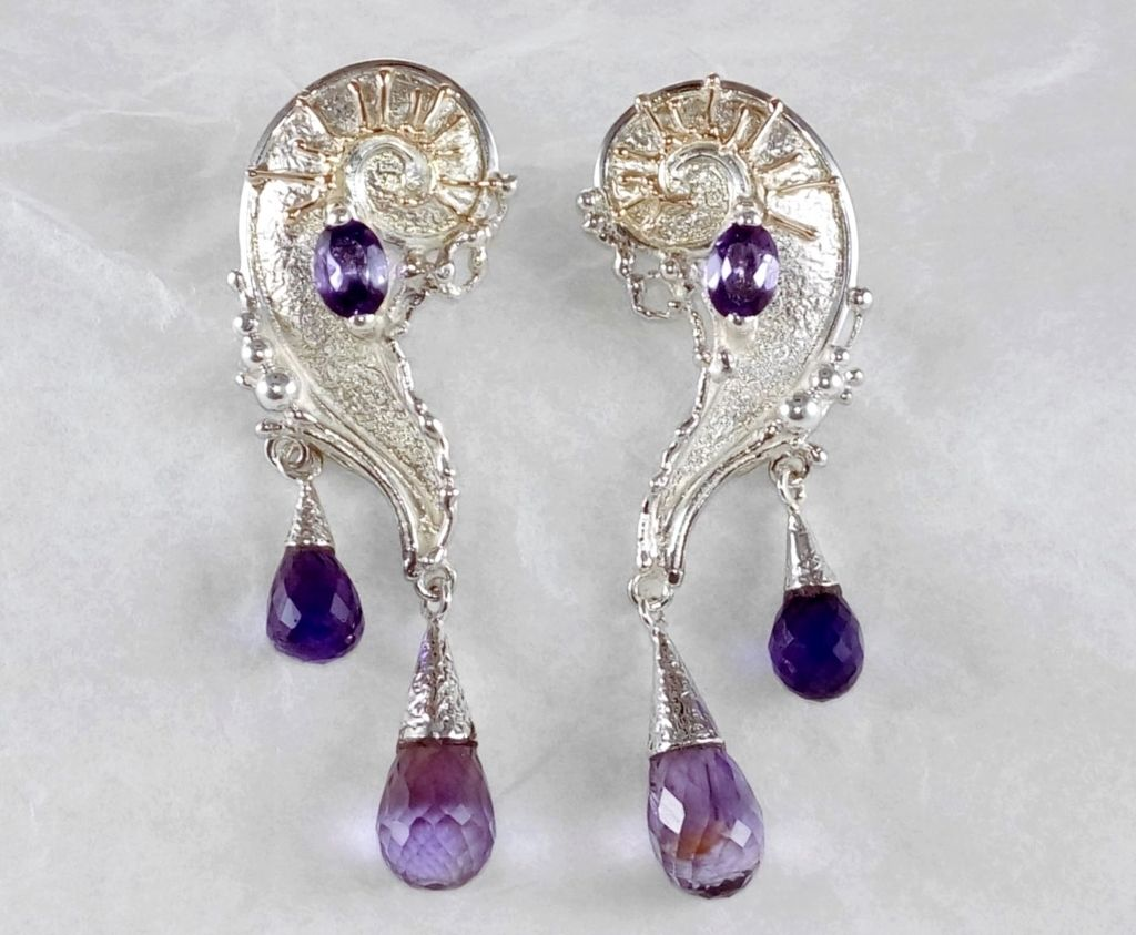 Earrings #7824, sterling silver, gold, amethyst, original handmade, one of a kind jewellery, art jewellery, Gregory Pyra Piro