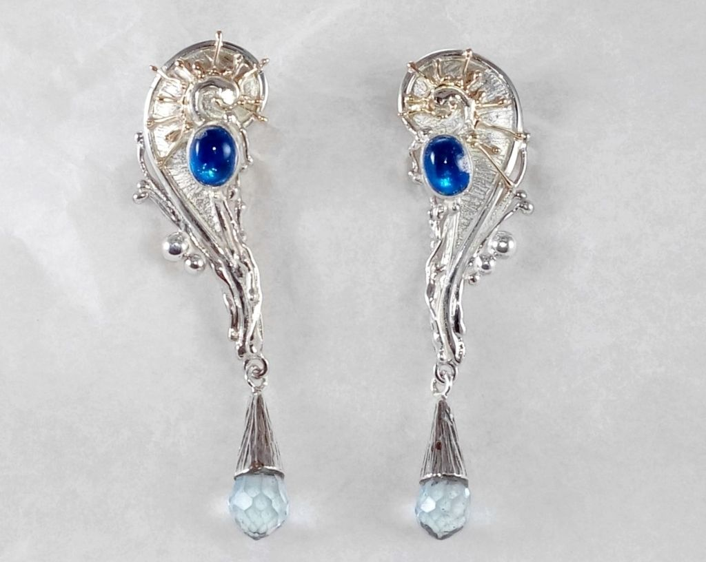 Earrings #8321, sterling silver, gold, moonstone, blue topaz, original handmade, one of a kind jewellery, art jewellery, Gregory Pyra Piro