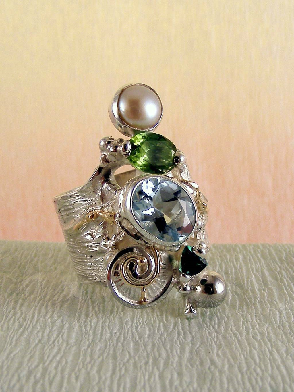 one of a kind jewellery, handmade artisan jewellery, mixed metal artisan jewellery, artisan jewellery with gemstones and pearls, Band #Ring 1441