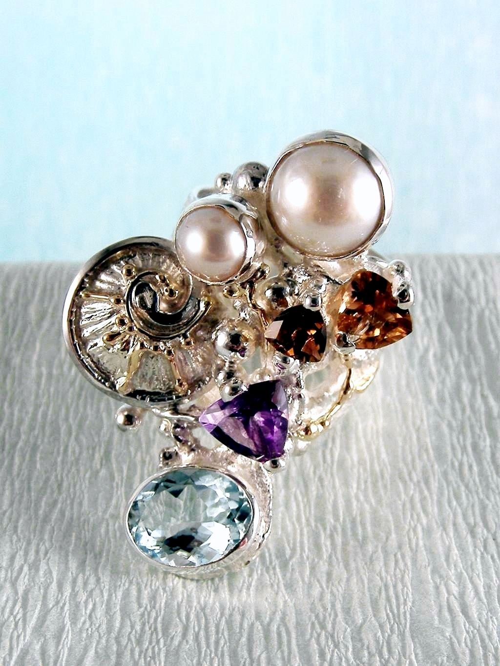 one of a kind jewellery, handmade artisan jewellery, mixed metal artisan jewellery, artisan jewellery with gemstones and pearls, Band #Ring 2050
