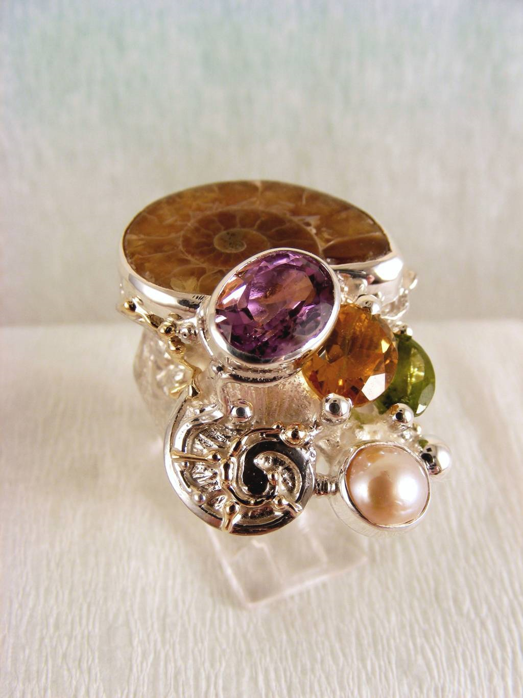one of a kind jewellery, handmade artisan jewellery, mixed metal artisan jewellery, artisan jewellery with gemstones and pearls, Band #Ring 5240