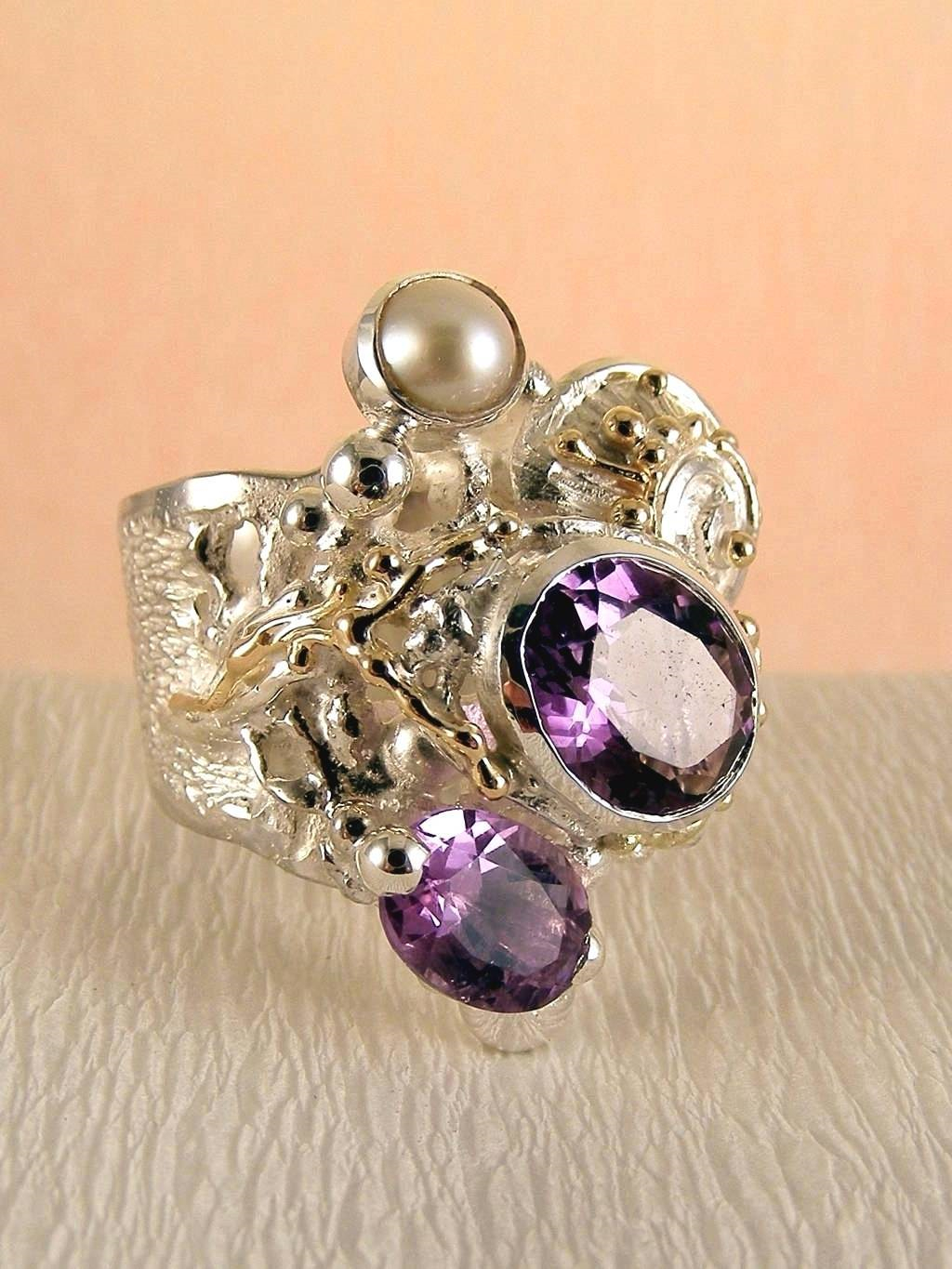 one of a kind jewellery, handmade artisan jewellery, mixed metal artisan jewellery, artisan jewellery with gemstones and pearls, Band #Ring 8442