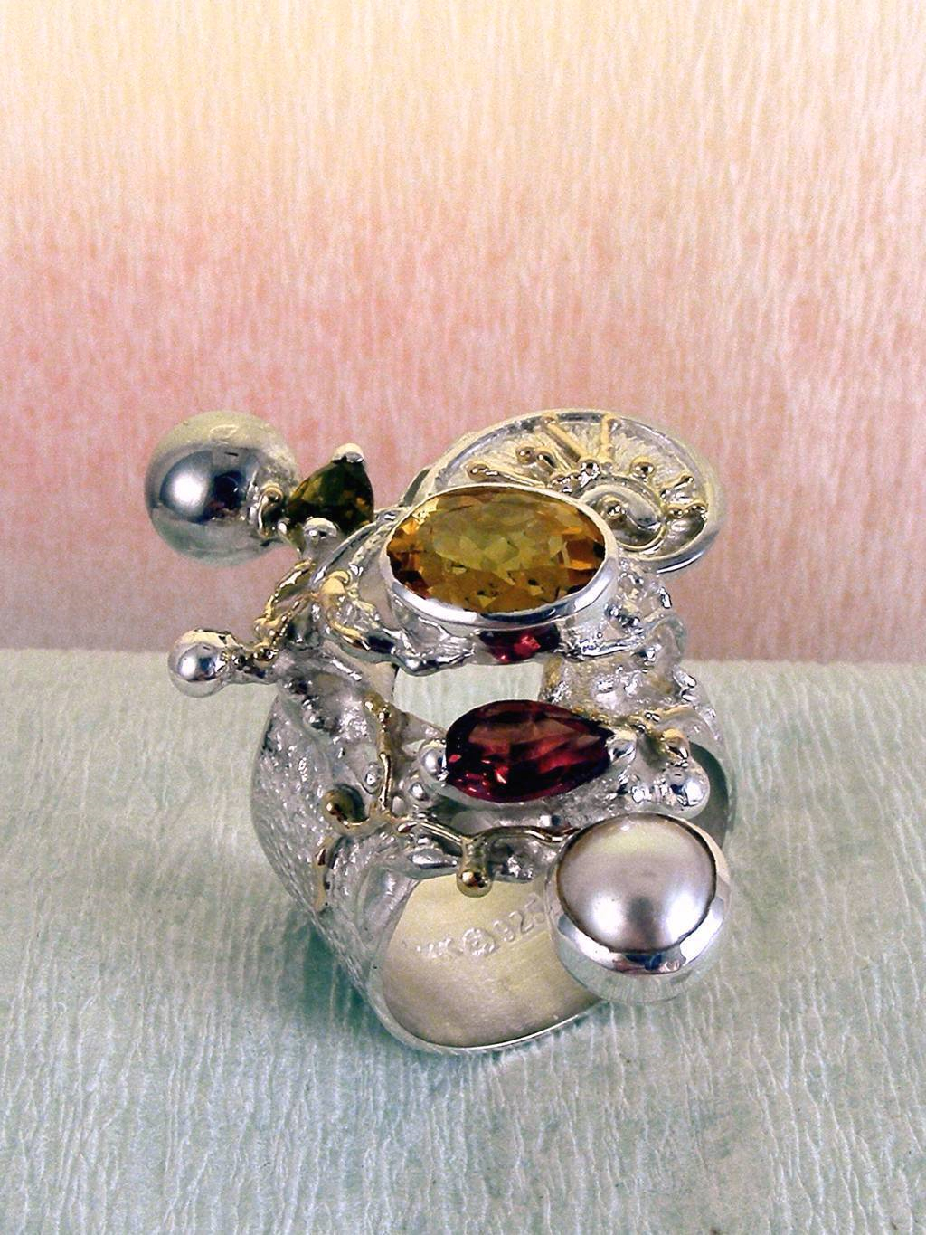 one of a kind jewellery, handmade artisan jewellery, mixed metal artisan jewellery, artisan jewellery with gemstones and pearls, Band #Ring 9435