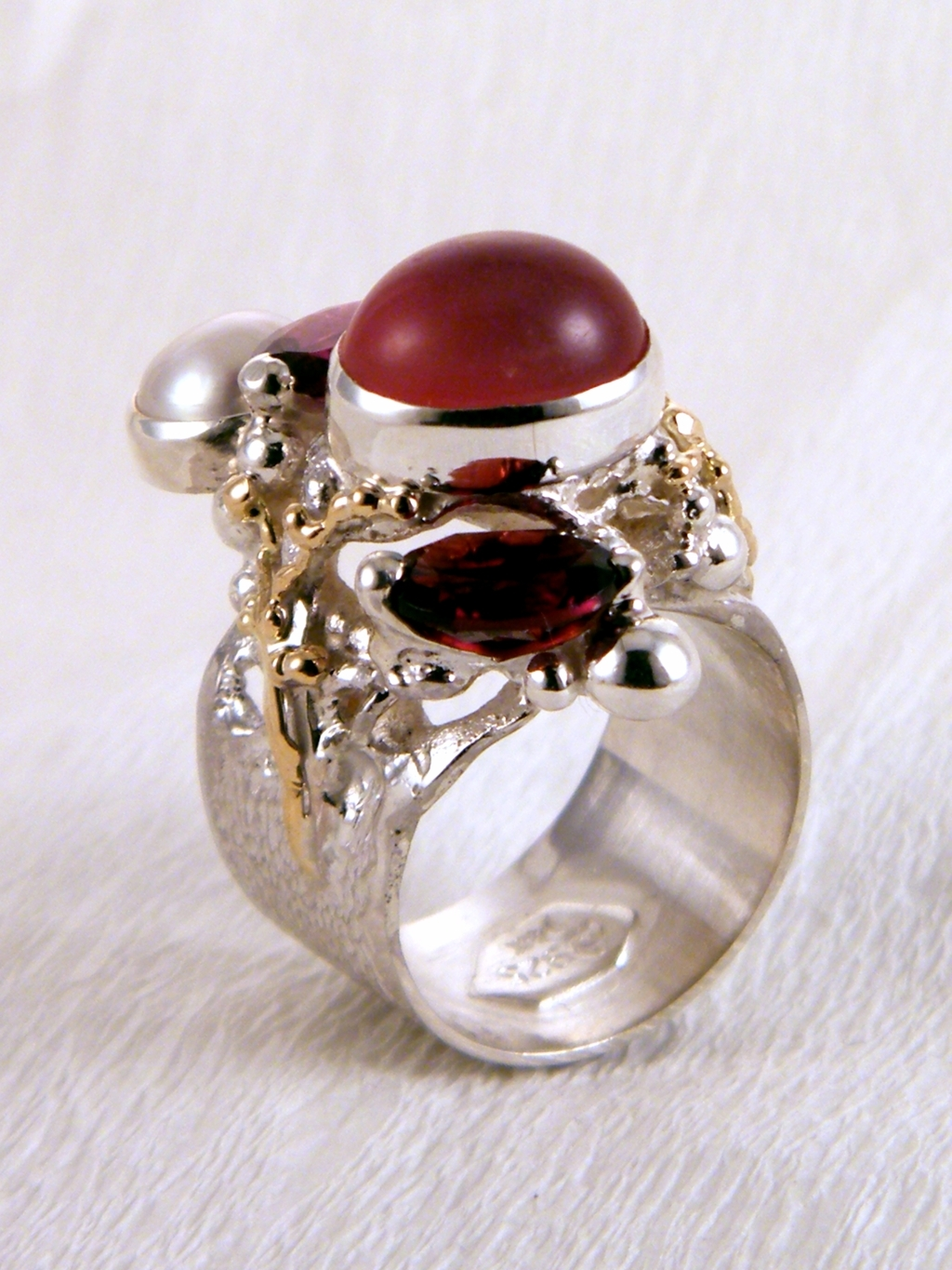 Gregory Pyra Piro Band Ring #6271 in Sterling Silver and 14k Gold with Garnet, Moonstone, and Pearl