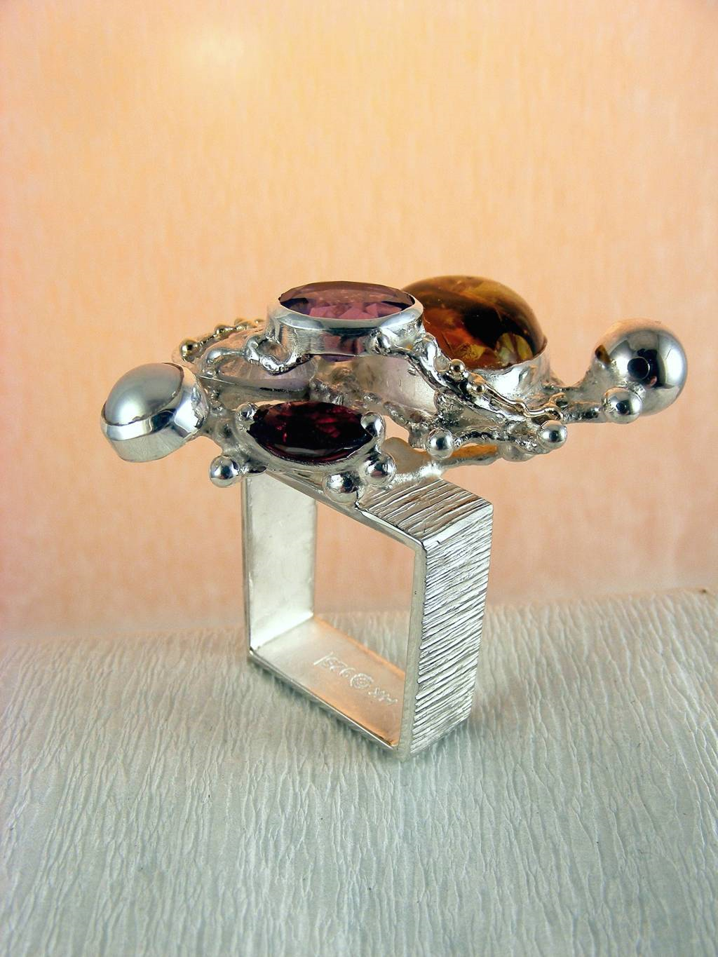 Ring with Amethyst and Garnet #1710, Original Handmade in Sterling silver and Gold, Amber, Amethyst, Garnet, Pearl