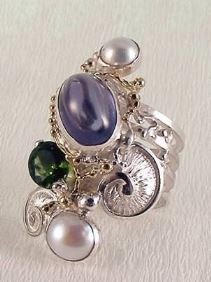 mixed metal soldered and reticulated ring, where to buy fine craft gallery mixed metal reticulated and soldered ring, Gregory Pyra Piro artisan reticulated and soldered ring 7053