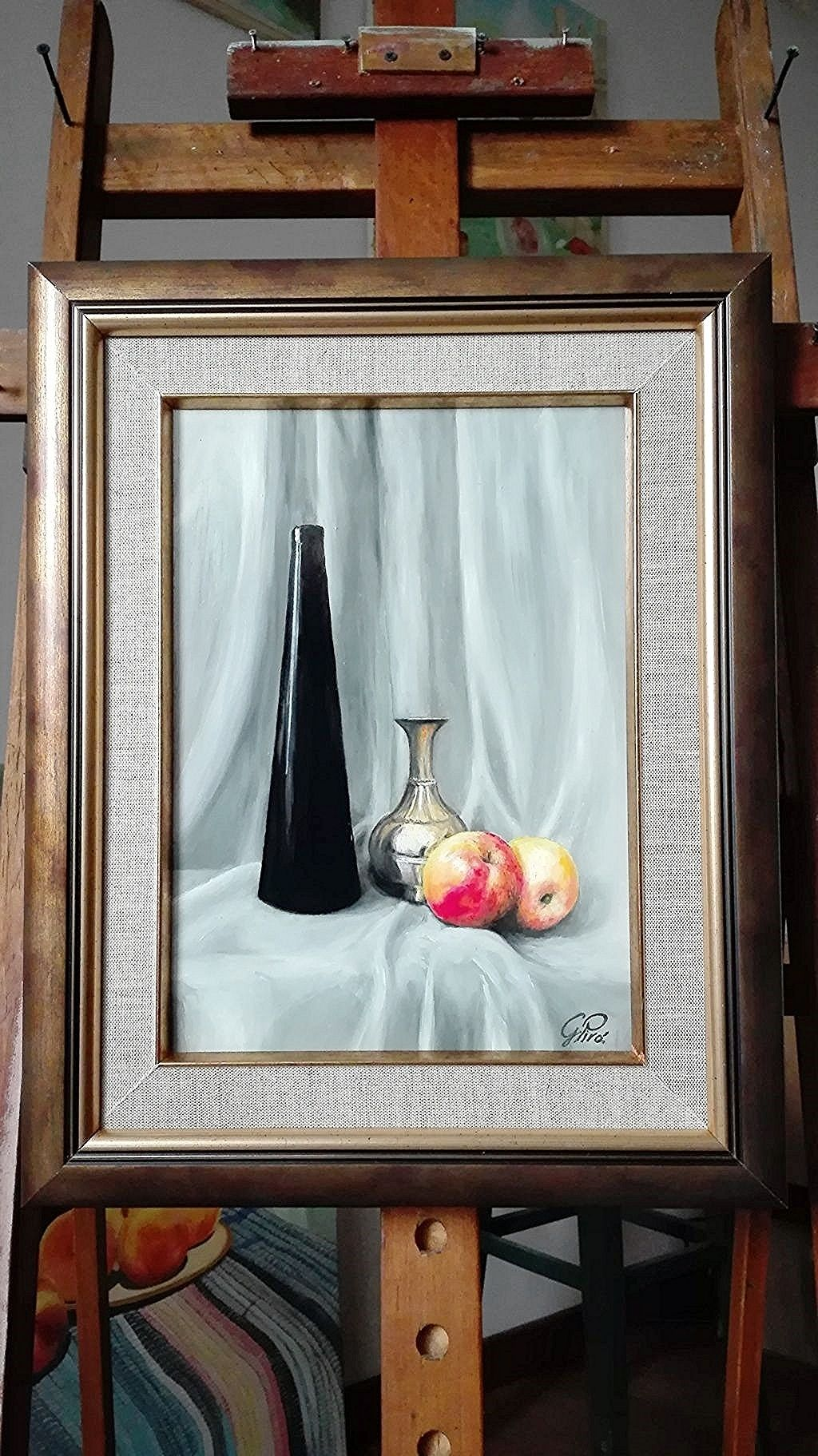 Oil Painting, Glass, Apples, and Brass, Gregory Pyra Piro