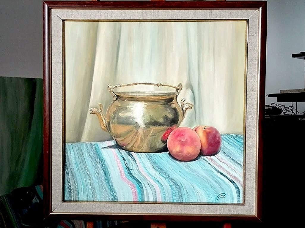 Oil Painting, Peaches and Brass, Still Life, Gregory Pyra Piro